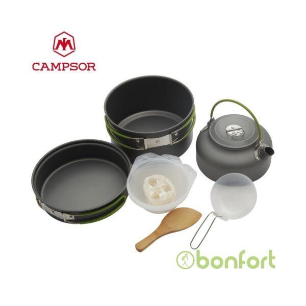 Set de ollas mas tetera y platos de camping