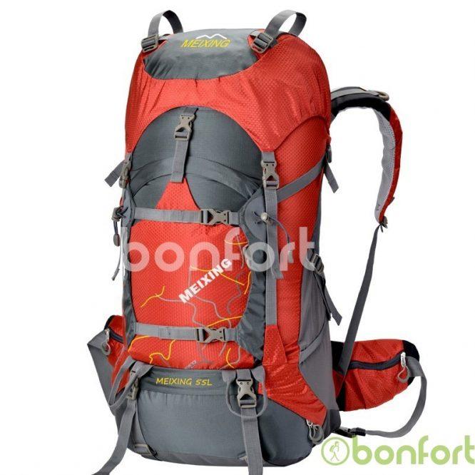 Mochila 55+10 LT con estructura y cubre mochila