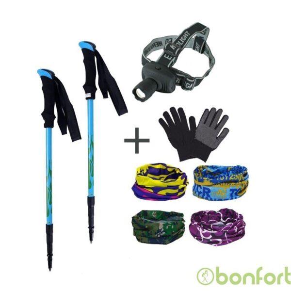 Pack 2 Bastones Pro + Linterna + Bandana + Guantes